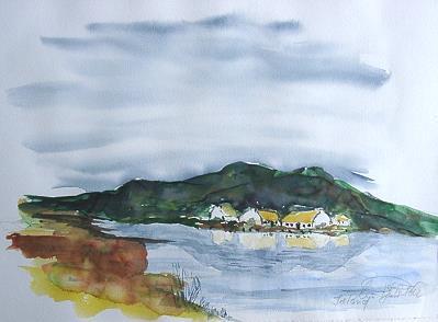 Landschaft in Connemara; Aquarell 2002 by ulli