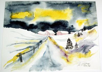 Aquarell Winterlandschaft 1992 by Ulli
